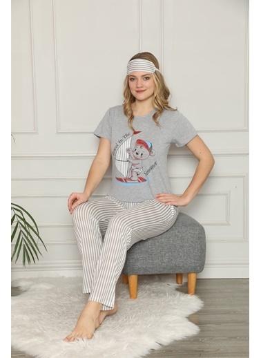 Akbeniz Kadın %100 Pamuk Penye Kısa Kol Pijama Takım 3337 Gri
